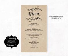 menu - estsy - vine wedding