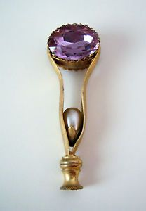 UMBRELLA PARASOL HANDLE GOLD PLATED WITH AMETHYST CRYSTAL VINTAGE