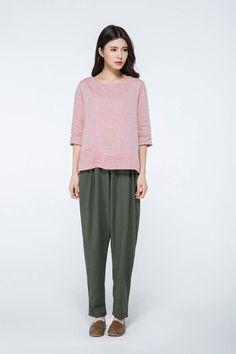 5b7d511e287 Items similar to Linen shirt women, pink linen top, 3/4 sleeves shirt, maxi  blouses, loose shirts, womens blouses, handmade tops, short shirts C1056 on  Etsy