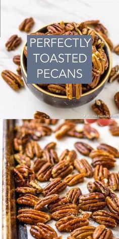 Perfectly Toasted Pecans - Buttery Salted Nuts Perfectly Toasted Pecans are easy to make and are great for snacking, mixing in your cakes and pies, or topping your ice cream! Spicy Pecans Recipe, Spiced Pecans, Candied Pecans For Salad, Candied Nuts, Appetizer Recipes, Snack Recipes, Cooking Recipes, Appetizers, Paleo Nuts