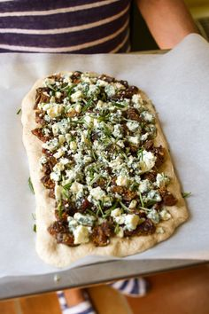 Recipe: Flat Bread with Dried Figs, Roquefort Cheese, and Rosemary — Cookbook Recipe from Mediterranean Vegetarian Feasts (Kitchn Vegetarian Cookbook, Cookbook Recipes, Vegetarian Recipes, Cooking Recipes, Quiches, Goat Cheese, Dried Fig Recipes, Dried Figs, Gastronomia