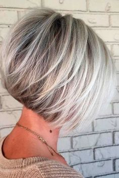100 Mind-Blowing Short Hairstyles for Fine Hair Angled Silver Balayage Bob With Swoopy Layers Layered Haircuts For Women, Short Bob Haircuts, Cool Haircuts, Hairstyles Haircuts, Natural Hairstyles, Stylish Hairstyles, Short Gray Hairstyles, Stacked Bob Hairstyles, Haircut Short