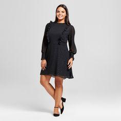 Women's Plus Size Asymmetrical Midi Skirt - A New Day™ Black : Target