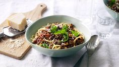 This recipe for delicious vegetarian bolognese sauce makes enough for 2 meals. Try it with rice and chilli, or as a lasagne or even topped with mash. See the recipe for details.