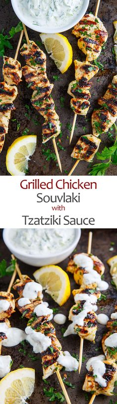 Grilled Chicken Souvlaki Recipe : A tasty Mediterranean lemon, garlic and oregano skewered grilled chicken that is perfect in pitas, in salads or right off the stick. Mediterranean Diet Recipes, Mediterranean Dishes, Souvlaki Recipe, Yummy Food, Tasty, Le Diner, Greek Recipes, Cooking Recipes, Healthy Recipes