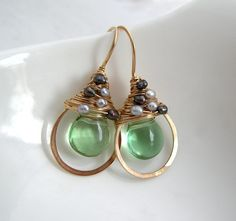 Green Flourite and Pearl Earrings by SarahHickeyJewellery on Etsy, $110.00