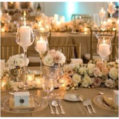 Lots of flowers used for these wedding reception tables