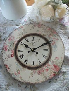 vintage pink and cream clock
