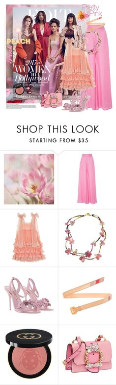 """""""Peach and Pink"""" by mariapia65 ❤ liked on Polyvore featuring WALL, Paper London, Chloé, Sophia Webster, Prada, Gucci, Miu Miu and 40"""
