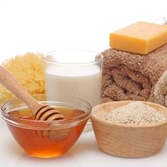 Make a simple exfoliating face scrub using just 3 ingredients - honey, olive oil and sugar.