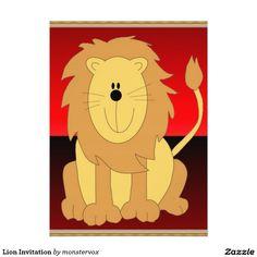 Lion Invitation #Lion #Cat #Feline #Animal #Cartoon #Art #Fashion #Card #Invitation