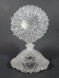 ETCHED CRYSTAL PERFUME BOTTLE, SUNFLOWER STOPPER, : Lot 1B