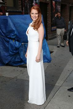 Jessica Chastain arrives at 'Late Show with David Letterman' at Ed Sullivan Theater on October 16, 2014 in New York City.