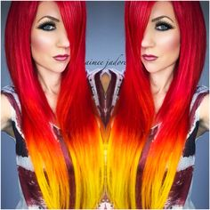 Nails Purple Yellow Hair Colors 55 Ideas For 2019 Two Color Hair, Yellow Hair Color, Pink Purple Hair, Red Ombre Hair, Burgundy Hair, Hair Colors, Purple Yellow, Blue, Emo Scene Hair