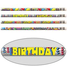 Happy Birthday Glitter Pencils - Unlike most glittery pencils that appeal only to girls, these are boy-tested and approved.