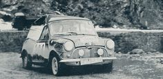 The Alec Pitts & Tony Ambrose Morris Mini after their crash on the 1960 Monte Carlo rally . They still managed to finish 73rd o/a .