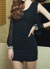 #SheInside Black Round Neck Long Split Sleeve Pearls Chiffon Dress $35.32