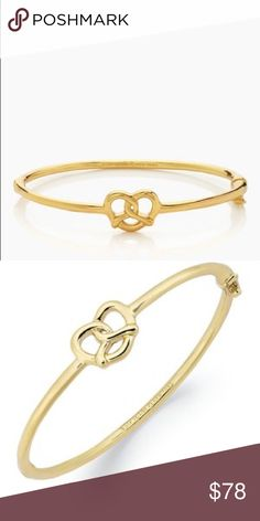 "Kate Spade NYC pretzel bangle Kate Spade NYC pretzel bangle. 12-karat gold plated metal. Hinged bangle. 2.25""h x 2""w. Weight: 11.6g. Handcrafted. New with tags, unused. kate spade Jewelry Bracelets"