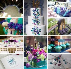 Purple and Teal Inspiration Board :: On The Go Bride