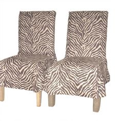 Zebra Print Microsuede Dining Chair Covers (Set of 2)   Overstock.com Shopping - Big Discounts on Classic Slipcovers Chair Slipcovers