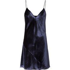 Velvet Slip Dress (6.995 ARS) ❤ liked on Polyvore featuring dresses, navy, navy velvet dress, navy v neck dress, navy blue dress, v neck slip dress and blue slip dress