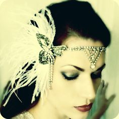 Art Deco Wedding Headpiece - Feather Vintage Rhinestone Ostrich 1920s 1930s Headdress. $128.00, via Etsy.
