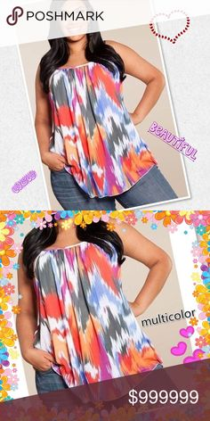 "COMING SOON! Plus Spaghetti Strap Multicolor Top Feels like chiffon! This adorable top is perfect with jeans shorts and sandals. Add a floppy hat and you'll be ready for that campfire on the beach! Runs small so order up! ""Like"" this listing to be notified of arrival!  Size: 2X, 3X, 4X, 5X Tops Blouses"