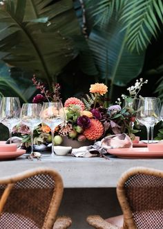 A natural tablescape of floral and fruit...
