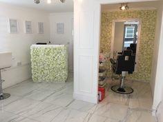 #salon #beauty #flower #wall #feature #mirror #desk #till #paypoint