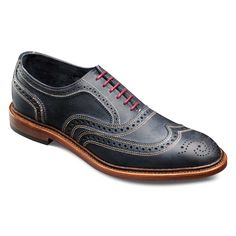 Neumok - Unlined Wingtip Lace-up Oxford Men's Casual Shoes by Allen Edmonds Navy Distressed Leather