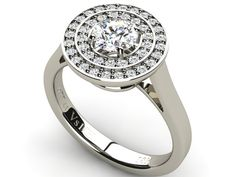 Halo Diamond 0.77 ct Ring with Side Accents 18K White Gold - Paul Jewelry