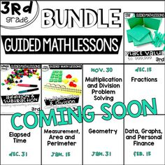 *************Please Read****************This is a growing bundle of 9 guided math units for third grade.  Currently this bundle contains three units. If you purchase the bundle for the discounted growing bundle price, you will be able to access all new units added through your purchases file as they become available.  ********************************************************************Guided Math Lessons for Third Grade.