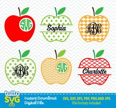 APPLE Monogram svg files, Silhouette Studio, Cricut, Cameo, Embroidery, Screen Printing TT-18