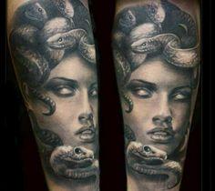 Black and grey Medusa portrait tattoo piece by Steffi Eff