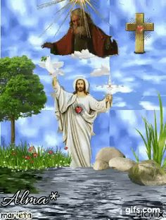 An animated gif. Make your own gifs with our Animated Gif Maker. Images Du Christ, Pictures Of Jesus Christ, Religious Pictures, Religious Art, Virgin Mary Painting, Gif Bonito, Image Jesus, Warrior Of The Light, Gypsy Soul
