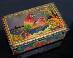 Vintage Antique Tin Treasure Chest , Art Deco Parrots, Dutch De Jong Cocoa Powder