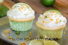 Boozy Margarita Cupcakes  Scrumptious cupcake is inspired by the Classic Margarita packed full of lime and tequila with true margarita frosting    #recipe, desserts, cake, baking, alcohol, liquor, party food, celebrations