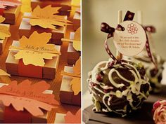 fall wedding favor ideas 2014~2015 leave favor box & chocolate bar