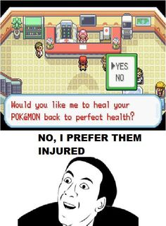 I like to imagine that--after most of his team was decimated by a wild Caterpie--this really is how an angry #NickCage plays #Pokemon.