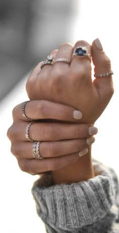 Nude nails, cozy sweaters and stacked rings...the perfect combination for fall fashion!