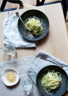broccoli stem spaghetti + creamy broccoli pesto + pine nut cheese | vegan - whats cooking good looking?