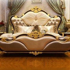 Source Luxury Classic King Size Wood MDF Royal French Style Barocco Bedroom Furniture Set on m. Luxury Bedroom Design, Bedroom Bed Design, Bedroom Furniture Design, Bed Furniture, Furniture Buyers, Furniture Dolly, Furniture Online, Furniture Sale, Cheap Furniture