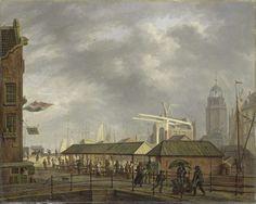 Johannes Jelgerhuis | The small Fish Market at the Corner of Brouwersgracht and the Singel, Johannes Jelgerhuis, 1826 | Gezicht op de kleine vismarkt op de hoek van de Brouwersgracht en het Singel te Amsterdam op het moment dat een regenbui valt. In het midden de overdekte markt, rechts op de brug een man met een kruiwagen en een man met een paraplu. Op de achtergrond een ophaalbrug, een toren en de masten met zeilen van de schepen in de haven.