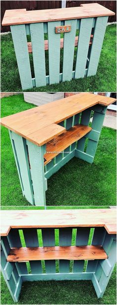 Top 25 New and Awesome DIY Wood Pallet Projects 2019 This is one of the creative uses of the wood shipping pallets for your bar counter framing designing purposes. This set of framing is included with the wood effect of the design with the blend artistic Diy Wood Pallet, Wooden Pallet Projects, Wooden Pallets, Wooden Diy, Pallet Couch, Diy Projects With Pallets, Diy With Pallets, Diy Outdoor Wood Projects, Outdoor Pallet Bar