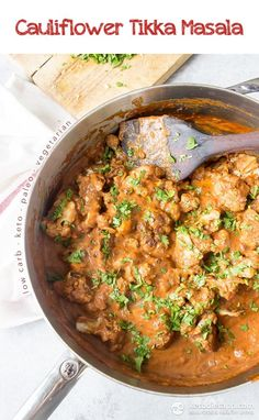 Vegetarian Cauliflower Tikka Masala (low-carb, keto, paleo, vegan)