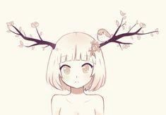 anime, bird, cute, drawing, little girl, pink