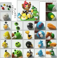 Fimo Angry birds but with marshmallow fondant instead of fimo Angry Birds Party, Cumpleaños Angry Birds, Festa Angry Birds, Bird Party, Bird Cake Toppers, Fondant Toppers, Decors Pate A Sucre, Decoration Patisserie, Fondant Animals