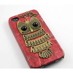 Owl with Brass Branch Hard Case Cover for iPhone 4 Case, iPhone 4s... ($8.99) ❤ liked on Polyvore