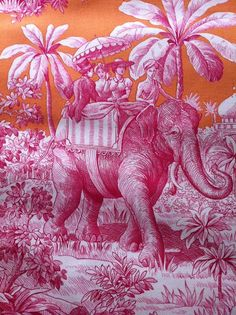 A Library of Design: Diana Vreeland: Pink, Red & Tangerine Dreams Toile . by Manuel Canovas Images Wallpaper, Fabric Wallpaper, Wallpapers, Chinoiserie Elegante, Chinoiserie Fabric, Diana Vreeland, Pink Elephant, Elephant Fabric, Colorful Elephant
