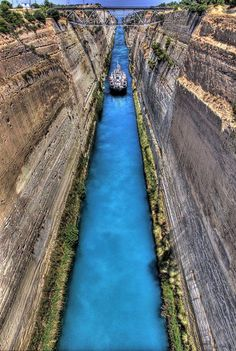 "The Isthmus Canal, Greece........    When a man says to me, ""I have the intensest love of nature,"" at once I know that he has none. ~Ralph Waldo Emerson, Journals, 1857"